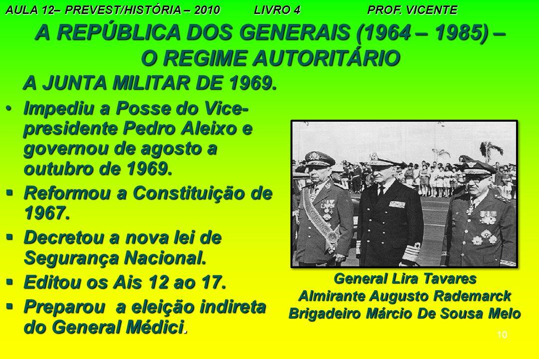 10 A REPÚBLICA DOS GENERAIS (1964 – 1985) – O REGIME AUTORITÁRIO A JUNTA MILITAR DE 1969. A JUNTA MILITAR DE 1969. Impediu a Posse do Vice- presidente