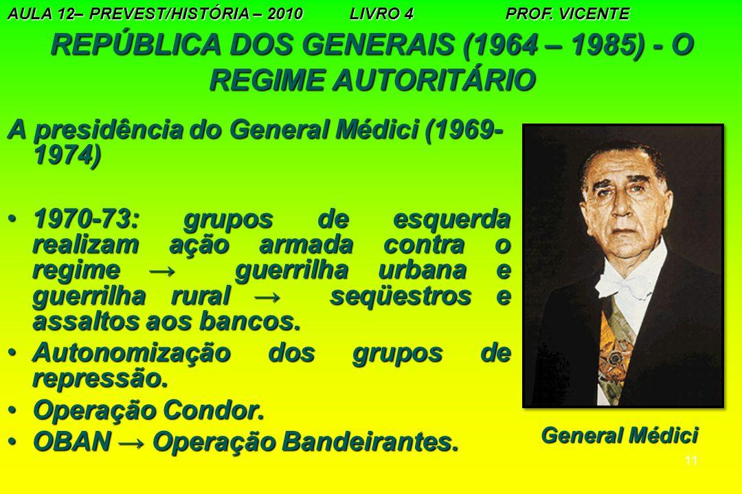 11 REPÚBLICA DOS GENERAIS (1964 – 1985) - O REGIME AUTORITÁRIO A presidência do General Médici (1969- 1974) 1970-73: grupos de esquerda realizam ação