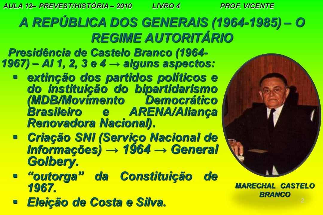 3 A REPÚBLICA DOS GENERAIS (1964-1985) – O REGIME AUTORITÁRIO A ORDEM ECONÔMICA:MODERNIZAÇÃO E DESENVOLVIMENTO Programa de Ação Econômica do Governo (PAEG):Programa de Ação Econômica do Governo (PAEG):  acelerar o desenvolvimento econômico;  conter o processo inflacionário; atenuar os desequilíbrios setoriais e regionais;  aumentar o investimento e com isso o emprego;  aumentar o investimento e com isso o emprego; AULA 13 – PREVEST/HISTÓRIA/2010 LIVRO 4 PROF VICENTE BANCO CENTRAL