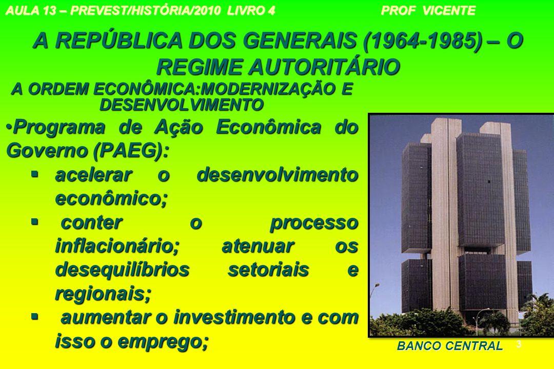 3 A REPÚBLICA DOS GENERAIS (1964-1985) – O REGIME AUTORITÁRIO A ORDEM ECONÔMICA:MODERNIZAÇÃO E DESENVOLVIMENTO Programa de Ação Econômica do Governo (