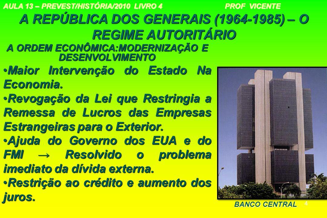 4 A REPÚBLICA DOS GENERAIS (1964-1985) – O REGIME AUTORITÁRIO A ORDEM ECONÔMICA:MODERNIZAÇÃO E DESENVOLVIMENTO Maior Intervenção do Estado Na Economia