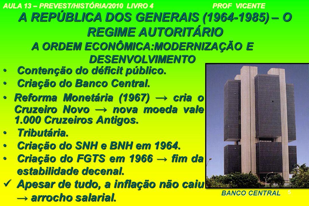 5 A REPÚBLICA DOS GENERAIS (1964-1985) – O REGIME AUTORITÁRIO Contenção do déficit público.Contenção do déficit público. Criação do Banco Central.Cria