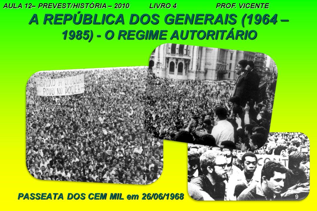 9 A REPÚBLICA DOS GENERAIS (1964 – 1985) - O REGIME AUTORITÁRIO AULA 12– PREVEST/HISTÓRIA – 2010 LIVRO 4 PROF. VICENTE PASSEATA DOS CEM MIL em 26/06/1