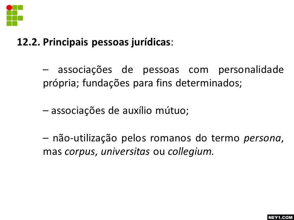 12.2. Principais pessoas jurídicas: – associações de pessoas com personalidade própria; fundações para fins determinados; – associações de auxílio mút