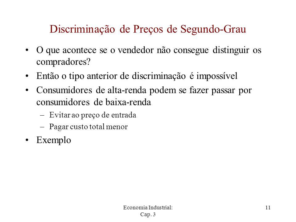 Economia Industrial: Cap. 3 11 Discriminação de Preços de Segundo-Grau O que acontece se o vendedor não consegue distinguir os compradores? Então o ti
