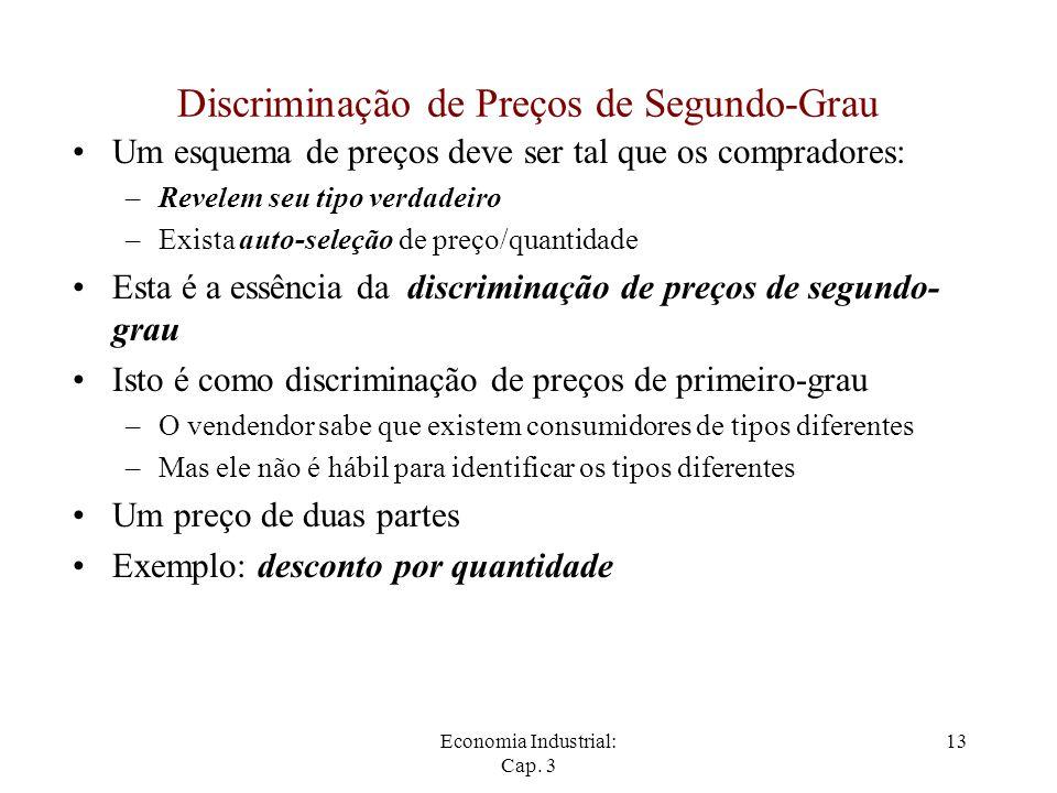 Economia Industrial: Cap. 3 13 Discriminação de Preços de Segundo-Grau Um esquema de preços deve ser tal que os compradores: –Revelem seu tipo verdade