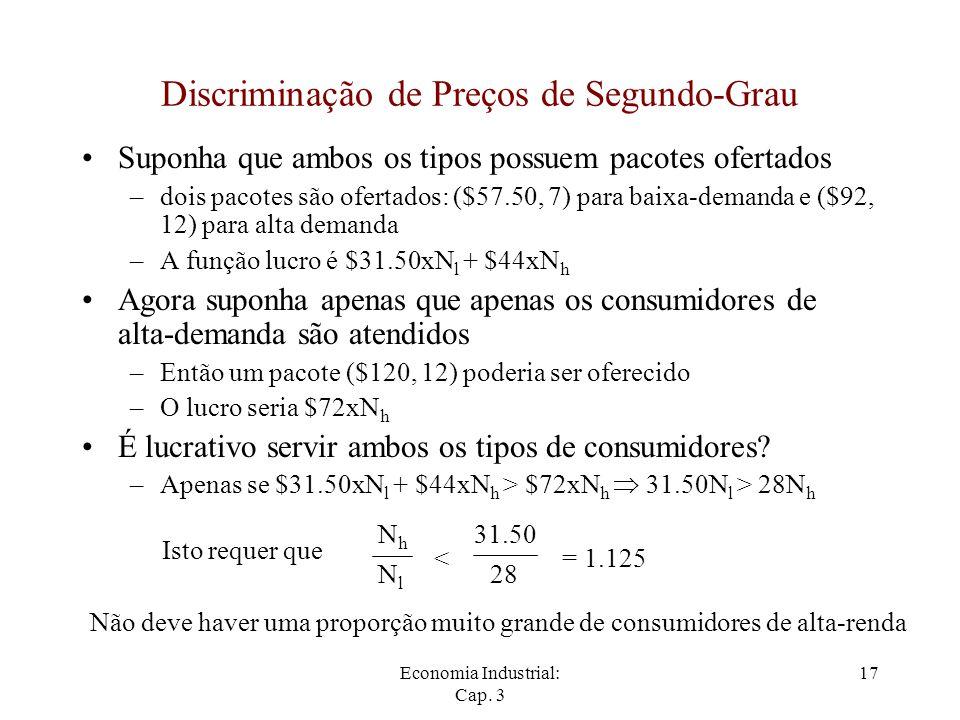 Economia Industrial: Cap. 3 17 Discriminação de Preços de Segundo-Grau Suponha que ambos os tipos possuem pacotes ofertados –dois pacotes são ofertado