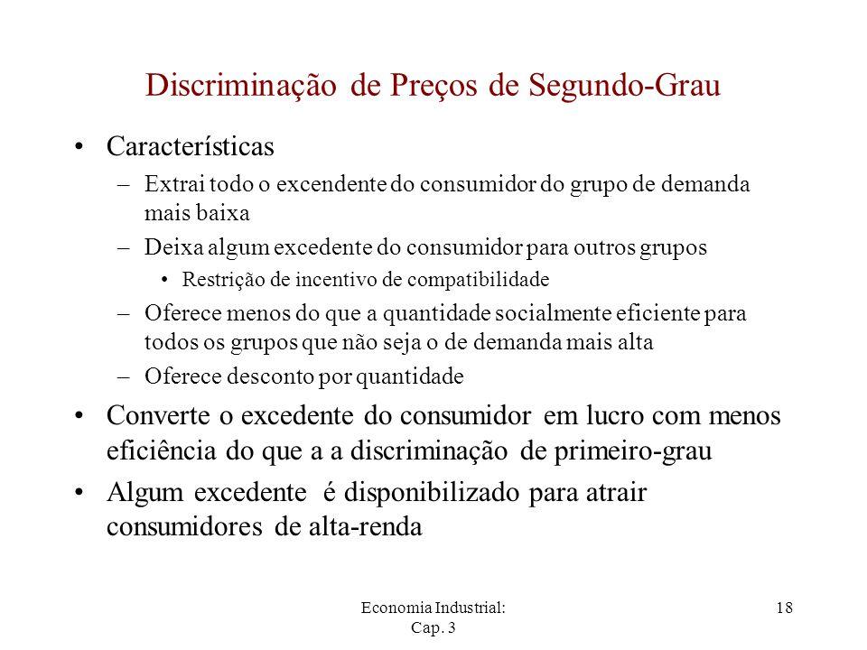 Economia Industrial: Cap. 3 18 Discriminação de Preços de Segundo-Grau Características –Extrai todo o excendente do consumidor do grupo de demanda mai
