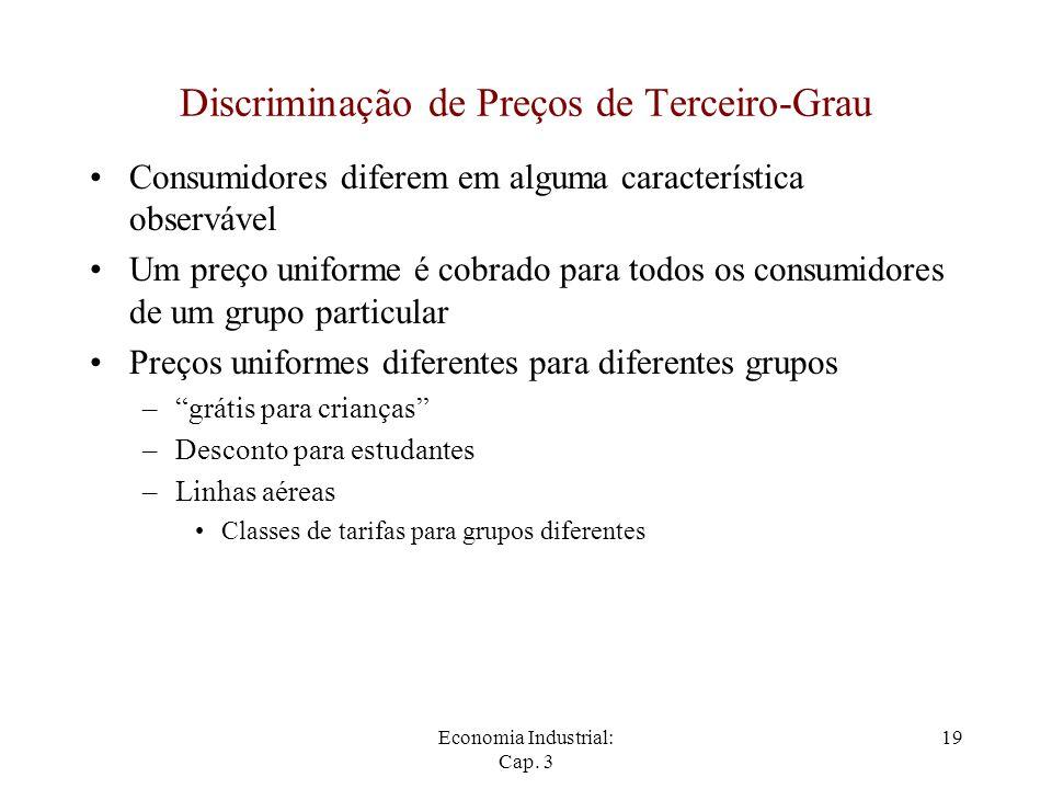 Economia Industrial: Cap. 3 19 Discriminação de Preços de Terceiro-Grau Consumidores diferem em alguma característica observável Um preço uniforme é c