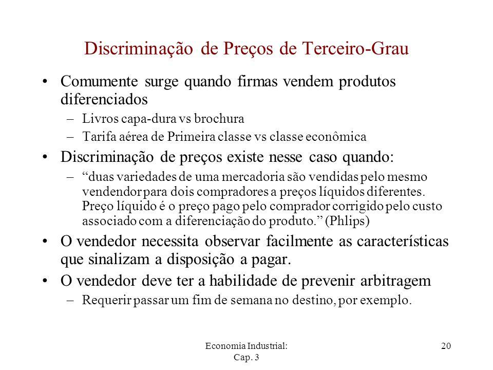 Economia Industrial: Cap. 3 20 Discriminação de Preços de Terceiro-Grau Comumente surge quando firmas vendem produtos diferenciados –Livros capa-dura