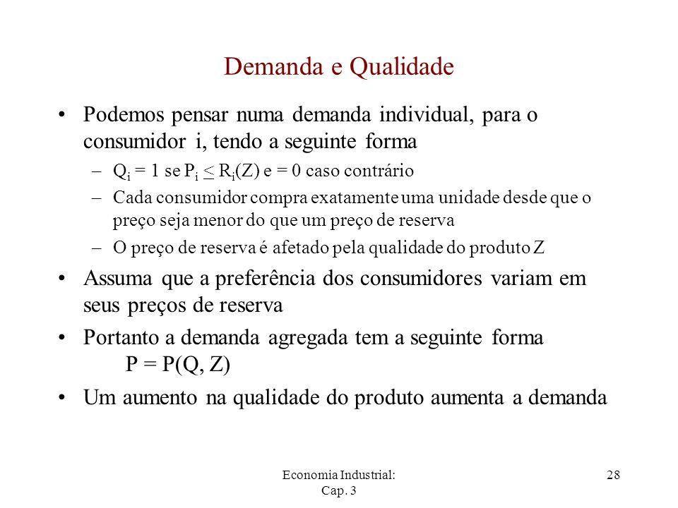 Economia Industrial: Cap. 3 28 Demanda e Qualidade Podemos pensar numa demanda individual, para o consumidor i, tendo a seguinte forma –Q i = 1 se P i