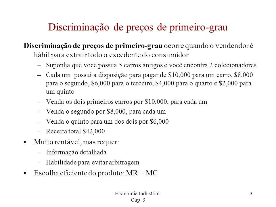 Economia Industrial: Cap. 3 3 Discriminação de preços de primeiro-grau Discriminação de preços de primeiro-grau ocorre quando o vendendor é hábil para