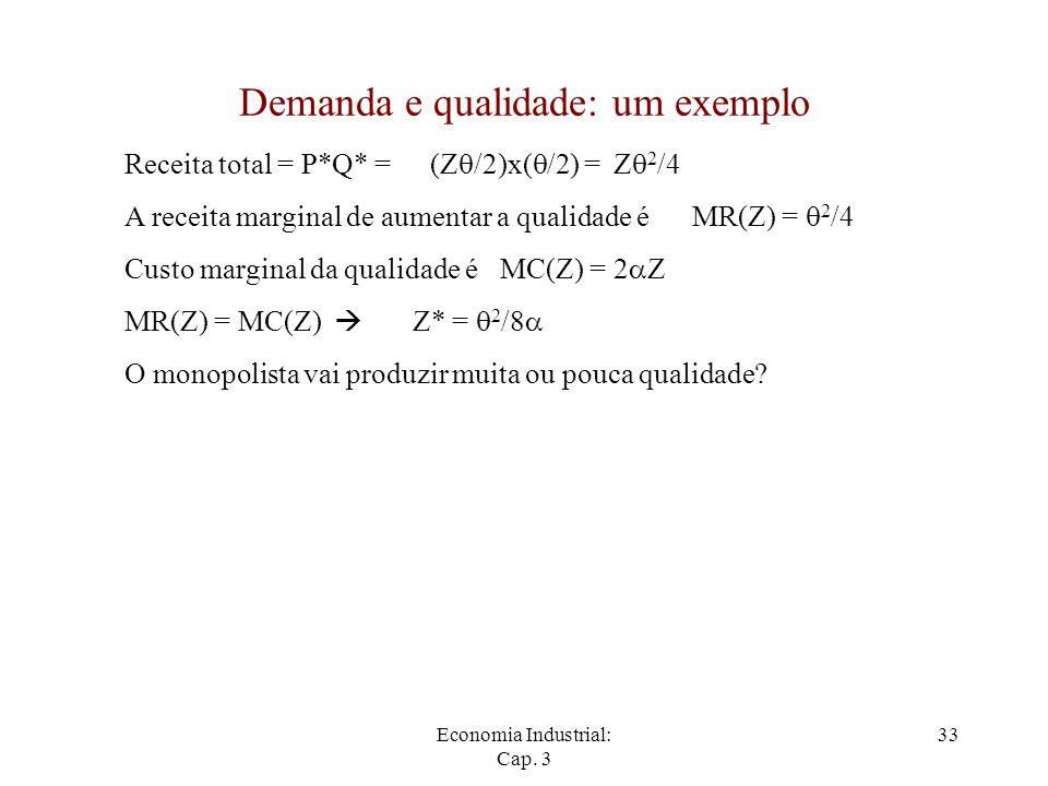 Economia Industrial: Cap. 3 33 Demanda e qualidade: um exemplo Receita total = P*Q* =(Z  /2)x(  /2) =Z  2 /4 A receita marginal de aumentar a quali