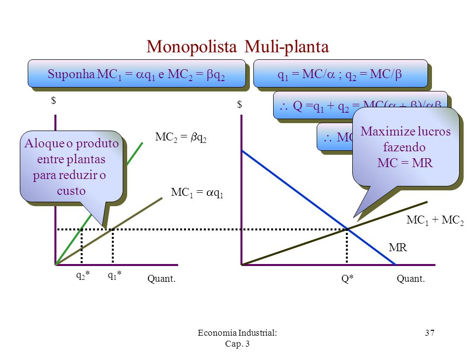 Economia Industrial: Cap. 3 37 Monopolista Muli-planta Suponha MC 1 =  q 1 e MC 2 =  q 2 Quant. $ MC 1 =  q 1 MC 2 =  q 2 q 1 = MC/  ; q 2 = MC/