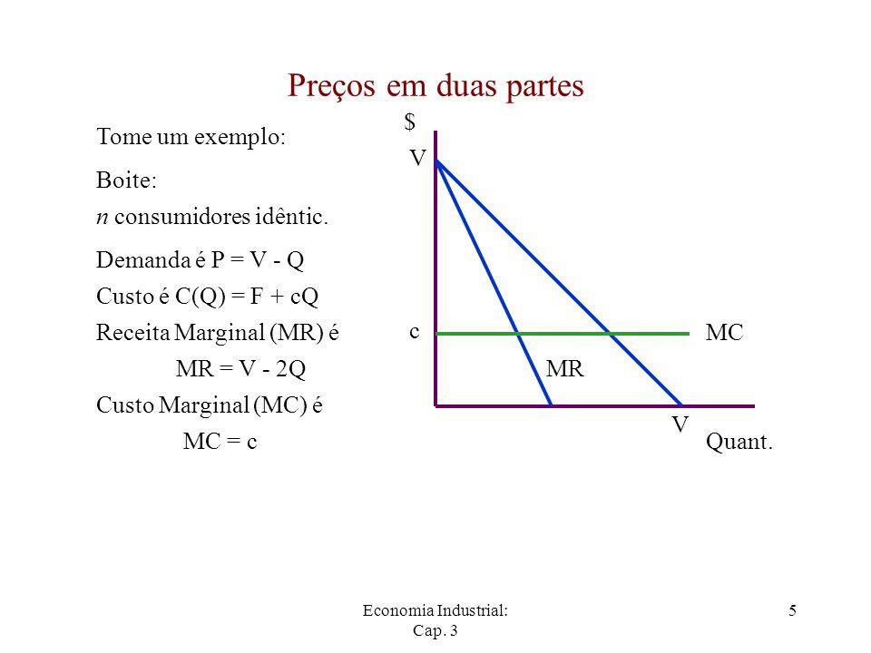 Economia Industrial: Cap. 3 5 Preços em duas partes Tome um exemplo: Demanda é P = V - Q $ Quant. V V Custo é C(Q) = F + cQ Receita Marginal (MR) é MR