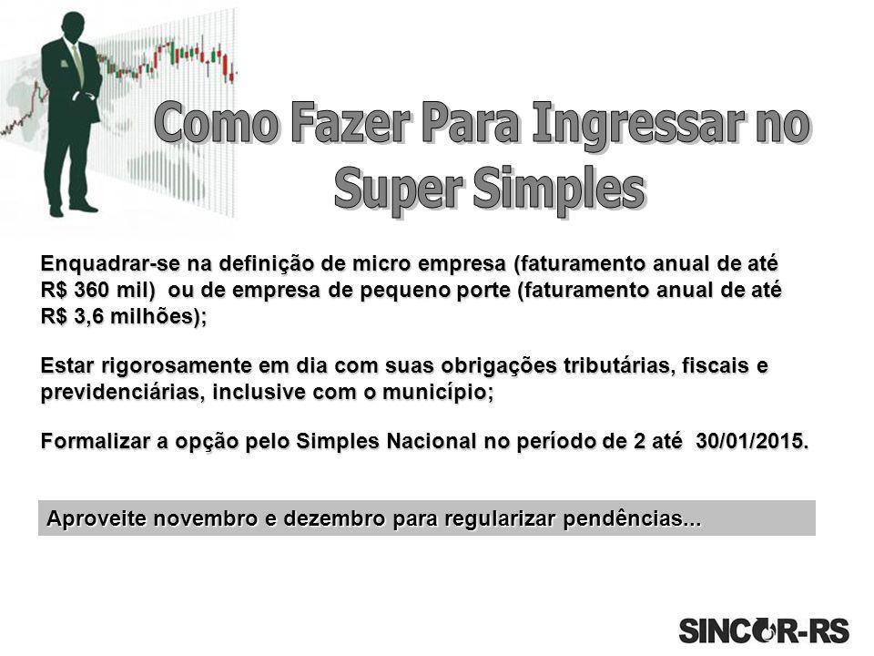 Aproveite novembro e dezembro para regularizar pendências... Enquadrar-se na definição de micro empresa (faturamento anual de até R$ 360 mil) ou de em