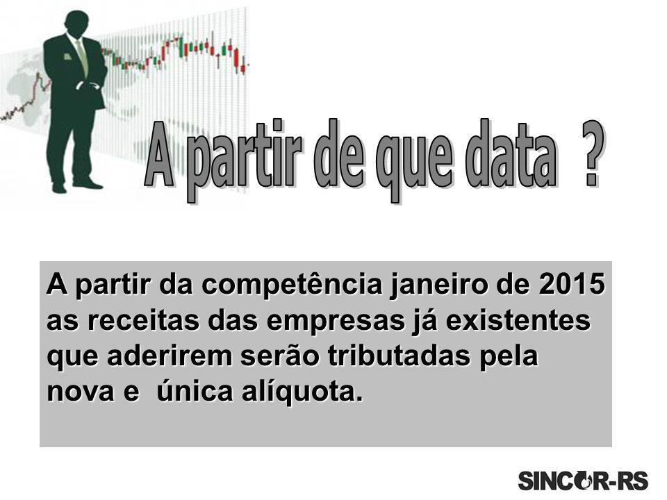 A partir da competência janeiro de 2015 as receitas das empresas já existentes que aderirem serão tributadas pela nova e única alíquota.
