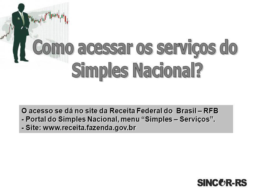 """O acesso se dá no site da Receita Federal do Brasil – RFB - Portal do Simples Nacional, menu """"Simples – Serviços"""". - Site: www.receita.fazenda.gov.br"""