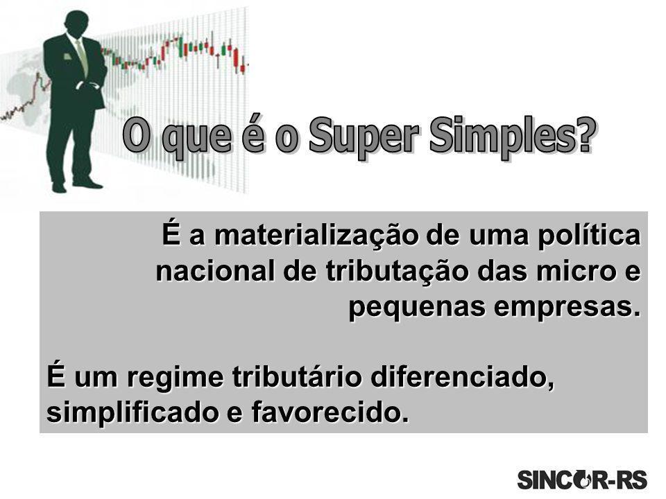 É a materialização de uma política nacional de tributação das micro e pequenas empresas. É um regime tributário diferenciado, simplificado e favorecid