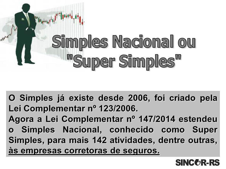 O Simples já existe desde 2006, foi criado pela Lei Complementar nº 123/2006. Agora a Lei Complementar nº 147/2014 estendeu o Simples Nacional, conhec