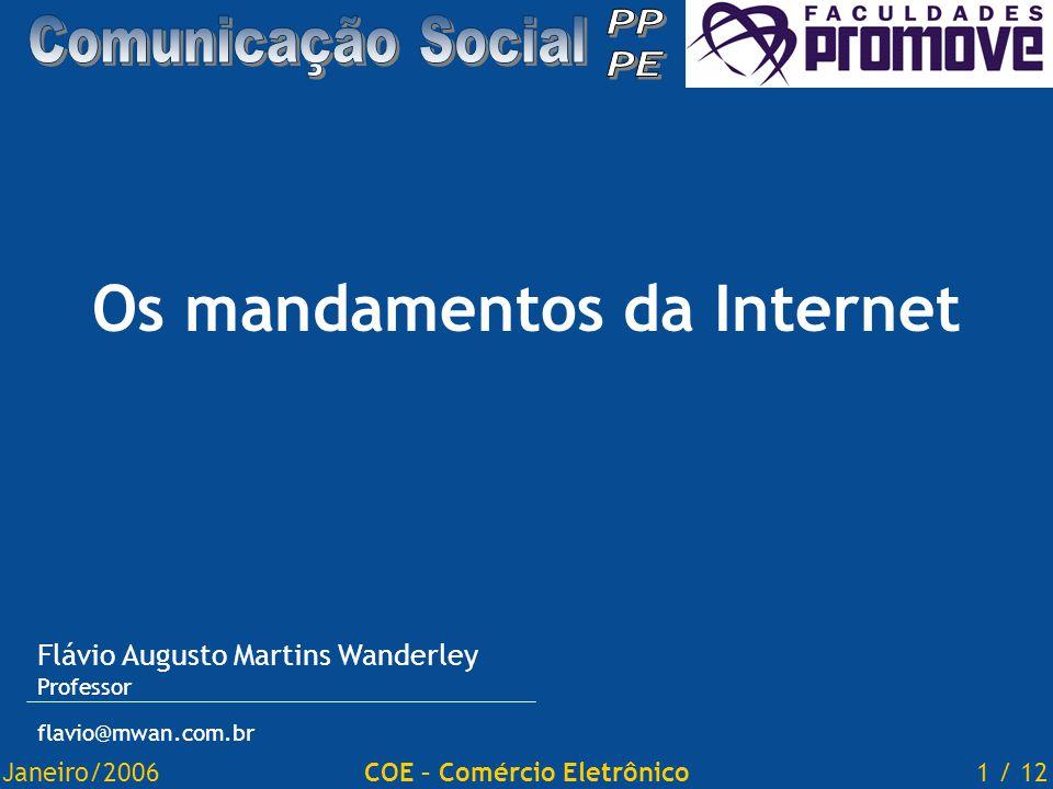 Janeiro/20061 / 12COE – Comércio Eletrônico Os mandamentos da Internet Flávio Augusto Martins Wanderley Professor flavio@mwan.com.br