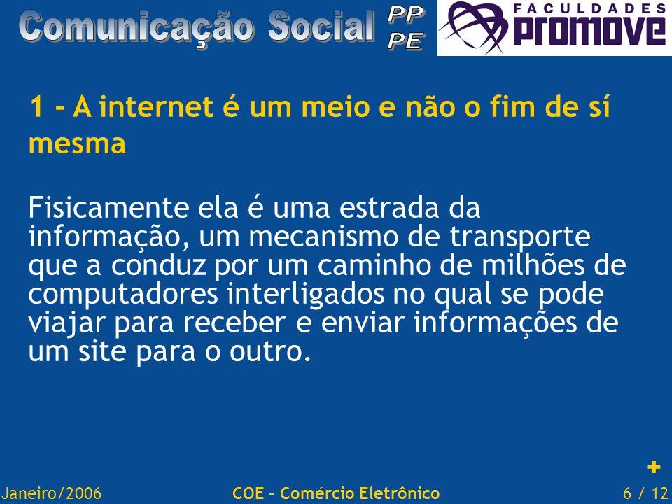Janeiro/20066 / 12COE – Comércio Eletrônico 1 - A internet é um meio e não o fim de sí mesma Fisicamente ela é uma estrada da informação, um mecanismo de transporte que a conduz por um caminho de milhões de computadores interligados no qual se pode viajar para receber e enviar informações de um site para o outro.
