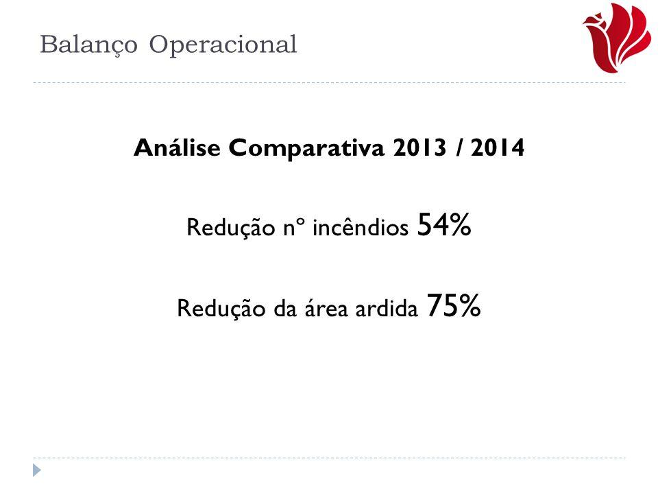 Análise Comparativa 2013 / 2014 Redução nº incêndios 54% Redução da área ardida 75%