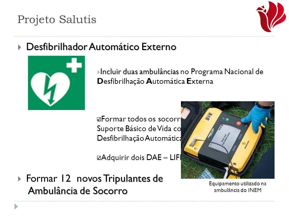 Projeto Salutis  Desfibrilhador Automático Externo  Incluir duas ambulâncias  Incluir duas ambulâncias no Programa Nacional de Desfibrilhação Autom