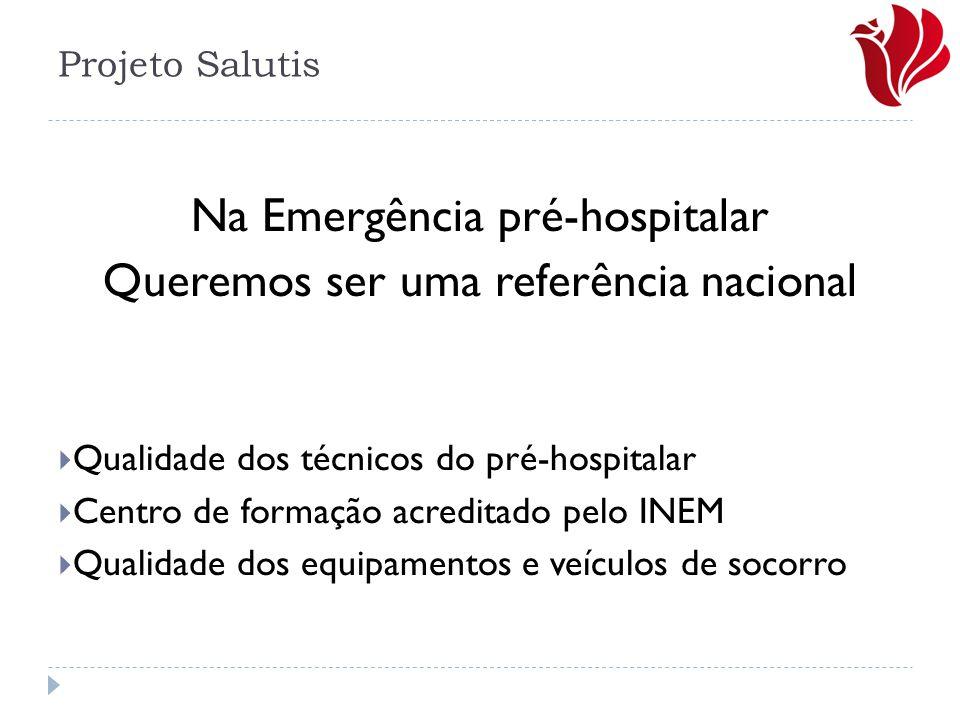 Na Emergência pré-hospitalar Queremos ser uma referência nacional  Qualidade dos técnicos do pré-hospitalar  Centro de formação acreditado pelo INEM