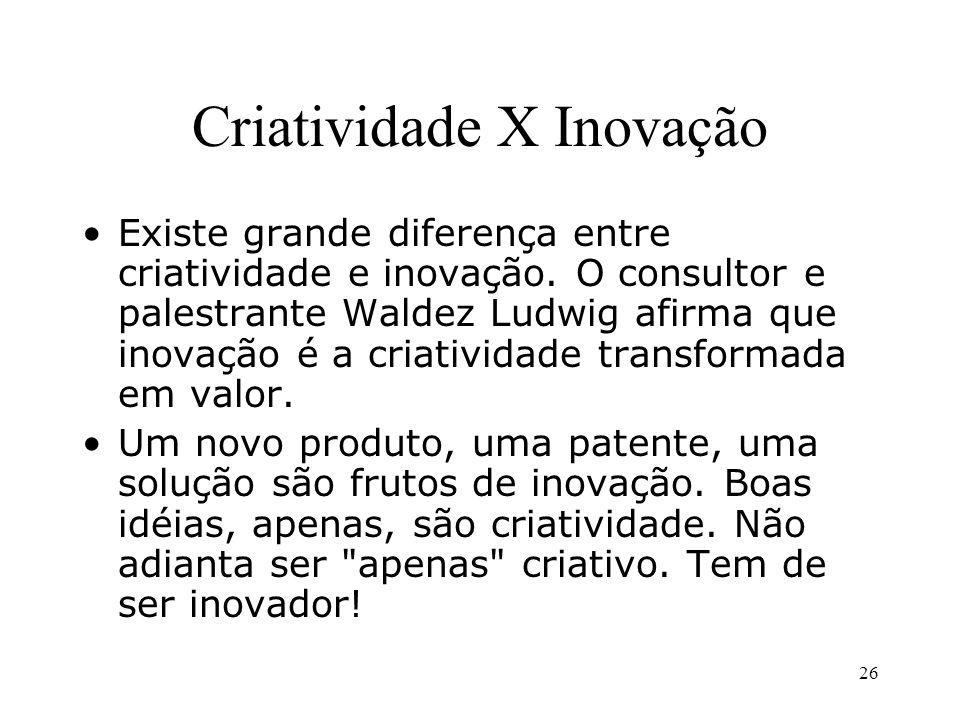 25 DEFINIÇÕES CRIATIVIDADE Habilidade de gerar novas idéias. INOVAÇÃO Idéia nova aplicada na criação ou aprimoramento de um produto ou serviço.