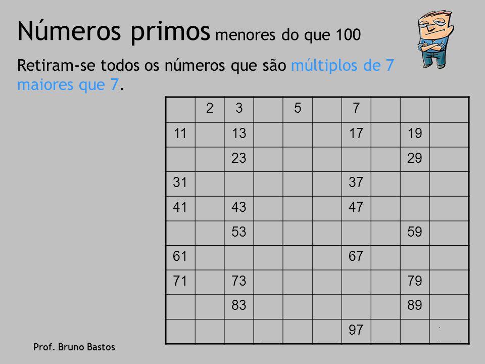 Números primos Encontrou-se, assim, todos os números primos menores que 100… 2, 3, 5, 7, 11, 13, 17, 19, 23, 29, 31, 37, 41, 43, 47, 53, 59, 61, 67, 71, 73, 79, 83, 89, 97 Repara agora que todos os primos com dois algarismos terminam em 1, 3, 7 e 9… Prof.