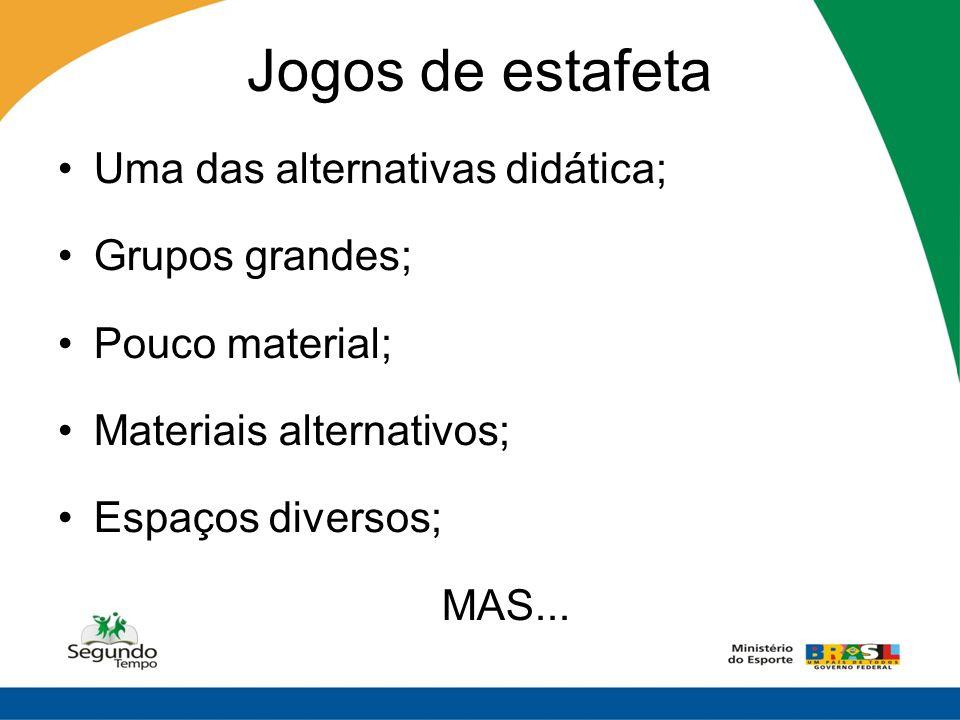 Jogos de estafeta Uma das alternativas didática; Grupos grandes; Pouco material; Materiais alternativos; Espaços diversos; MAS...