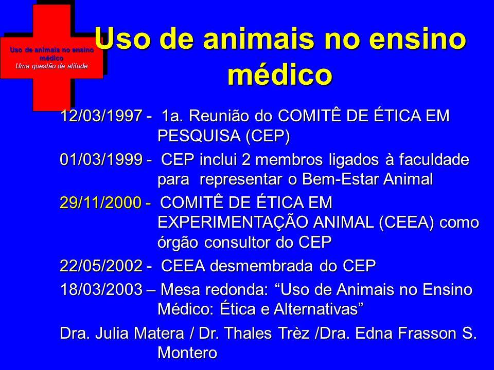 Uso de animais no ensino médico Uma questão de atitude Uso de animais no ensino médico 12/03/1997 - 1a.