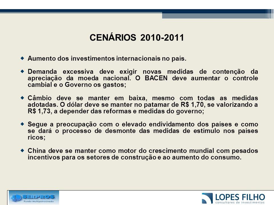 CENÁRIOS 2010-2011  Aumento dos investimentos internacionais no país.  Demanda excessiva deve exigir novas medidas de contenção da apreciação da moe