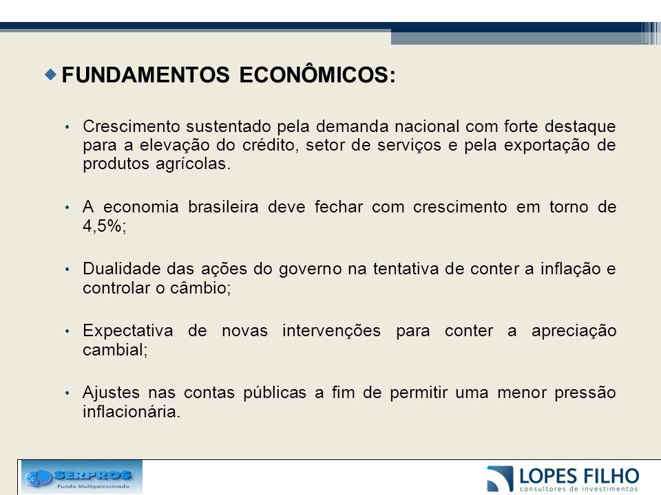  FUNDAMENTOS ECONÔMICOS: Crescimento sustentado pela demanda nacional com forte destaque para a elevação do crédito, setor de serviços e pela exportação de produtos agrícolas.