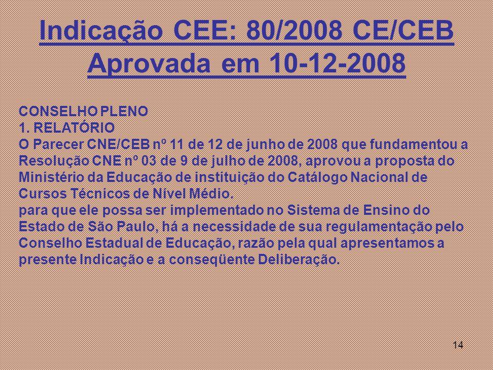 14 Indicação CEE: 80/2008 CE/CEB Aprovada em 10-12-2008 CONSELHO PLENO 1.