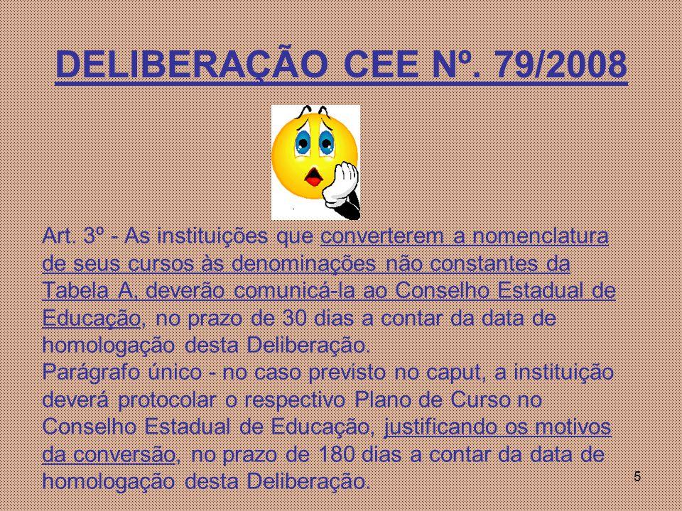 5 DELIBERAÇÃO CEE Nº.79/2008 Art.