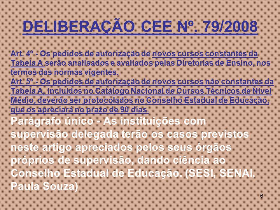 6 DELIBERAÇÃO CEE Nº.79/2008 Art.