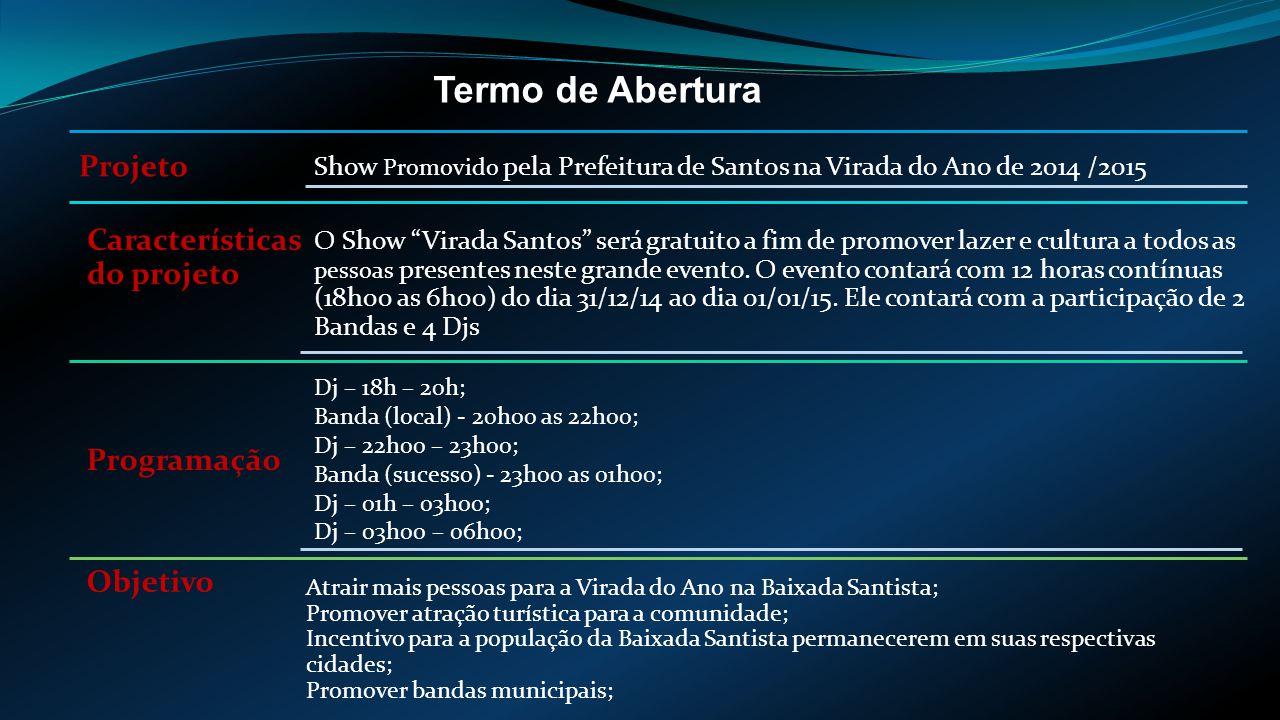 Termo de Abertura Projeto Características do projeto Programação Objetivo Show Promovido pela Prefeitura de Santos na Virada do Ano de 2014 /2015 O Show Virada Santos será gratuito a fim de promover lazer e cultura a todos as pessoas presentes neste grande evento.