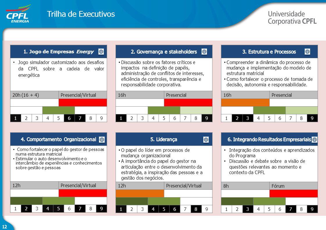 Trilha de Executivos Jogo simulador customizado aos desafios da CPFL sobre a cadeia de valor energética 20h (16 + 4)Presencial/Virtual 123456789 Discu