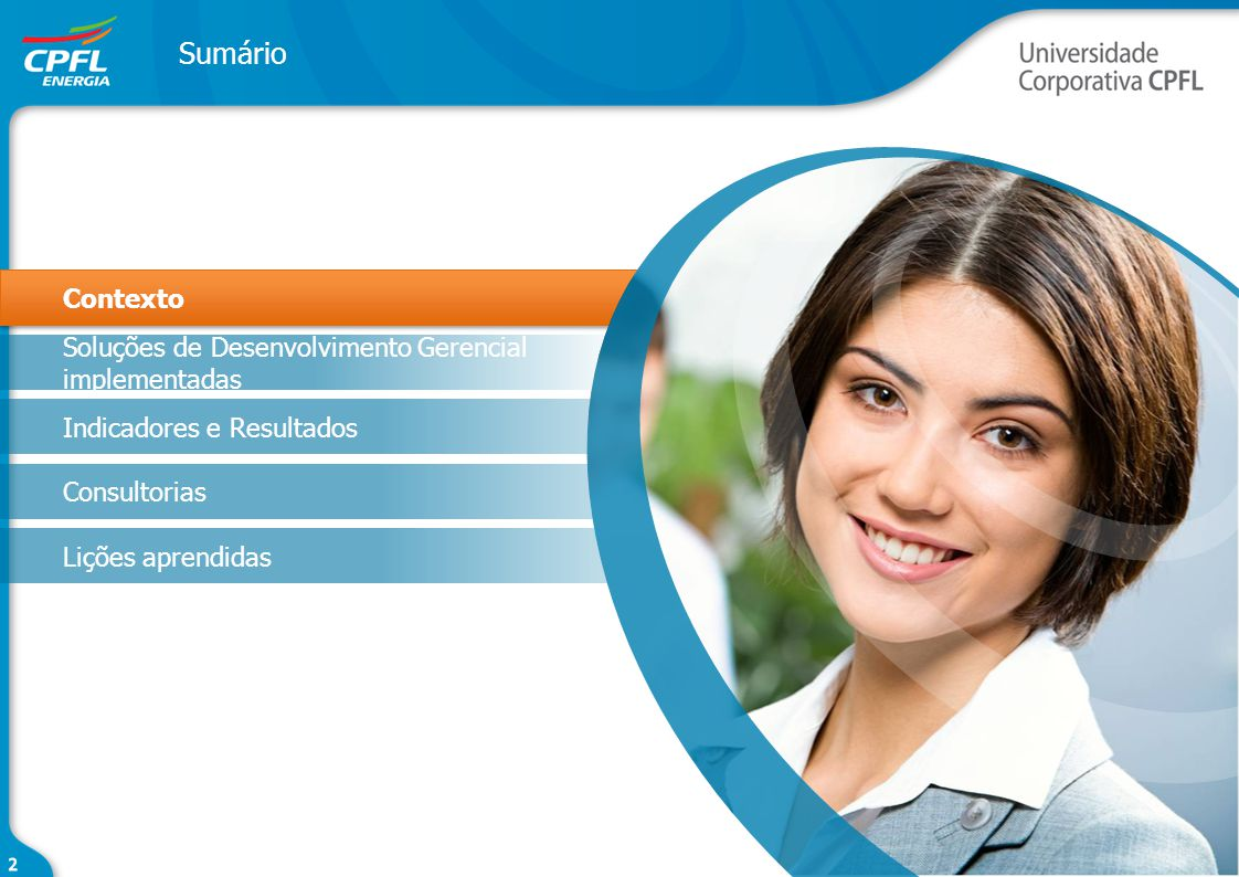 Contexto Soluções de Desenvolvimento Gerencial implementadas Indicadores e Resultados Consultorias Lições aprendidas Sumário