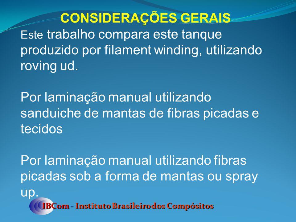 IBCom - Instituto Brasileiro dos Compósitos CONSIDERAÇÕES GERAIS Este trabalho compara este tanque produzido por filament winding, utilizando roving u