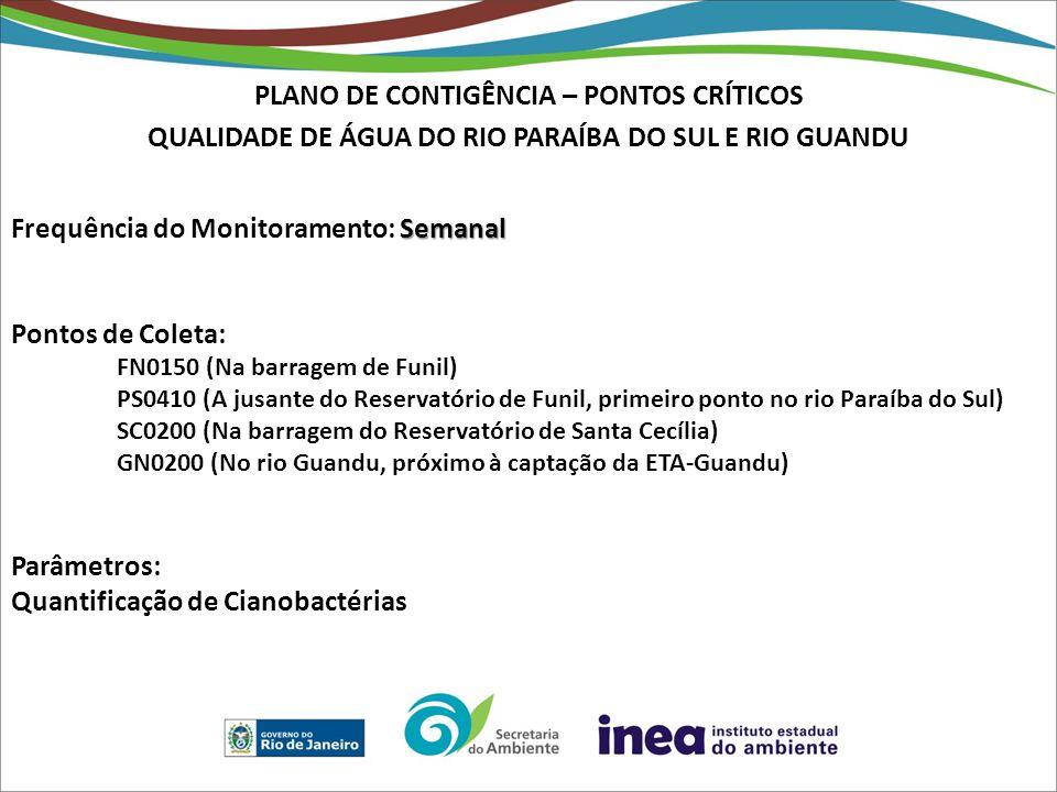 PLANO DE CONTIGÊNCIA – PONTOS CRÍTICOS QUALIDADE DE ÁGUA DO RIO PARAÍBA DO SUL E RIO GUANDU Semanal Frequência do Monitoramento: Semanal Pontos de Coleta: FN0150 (Na barragem de Funil) PS0410 (A jusante do Reservatório de Funil, primeiro ponto no rio Paraíba do Sul) SC0200 (Na barragem do Reservatório de Santa Cecília) GN0200 (No rio Guandu, próximo à captação da ETA-Guandu) Parâmetros: Quantificação de Cianobactérias
