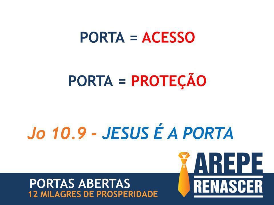 PORTA = ACESSO PORTA = PROTEÇÃO Jo 10.9 - JESUS É A PORTA 12 MILAGRES DE PROSPERIDADE PORTAS ABERTAS