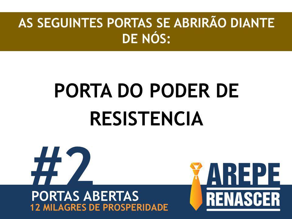 AS SEGUINTES PORTAS SE ABRIRÃO DIANTE DE NÓS: PORTA DO PODER DE RESISTENCIA #2 12 MILAGRES DE PROSPERIDADE PORTAS ABERTAS