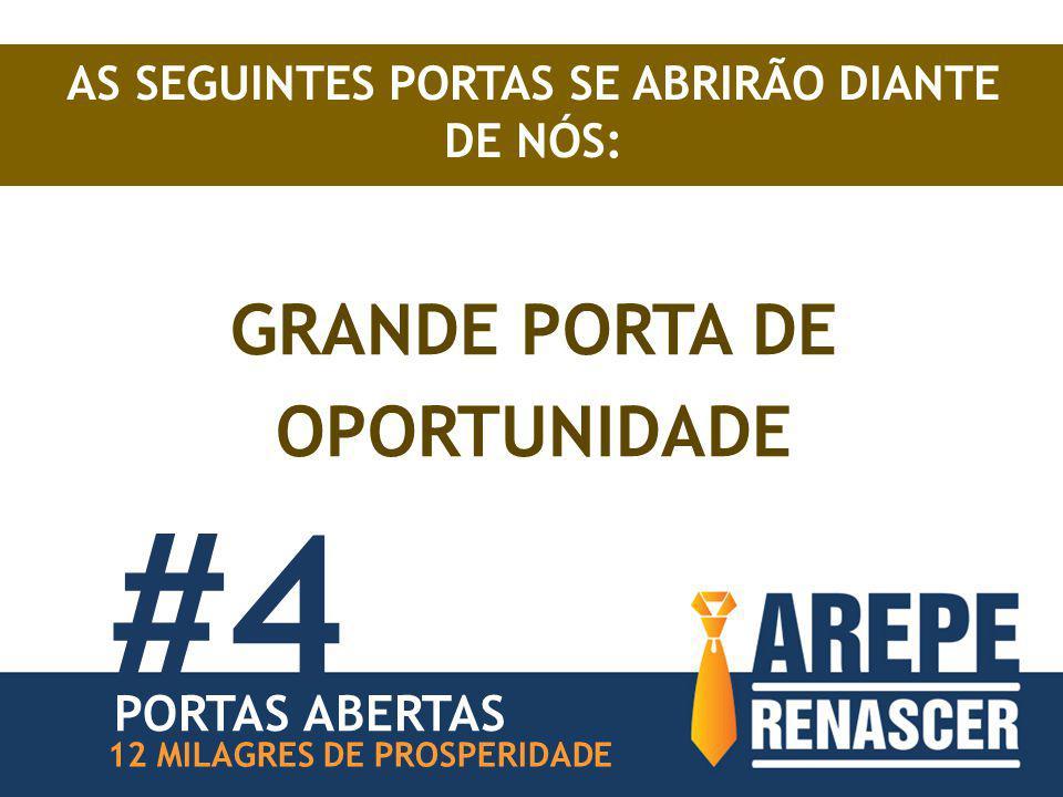 AS SEGUINTES PORTAS SE ABRIRÃO DIANTE DE NÓS: GRANDE PORTA DE OPORTUNIDADE #4 12 MILAGRES DE PROSPERIDADE PORTAS ABERTAS