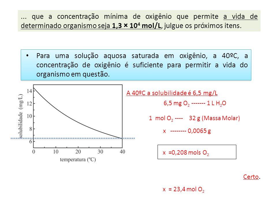 Para uma solução aquosa saturada em oxigênio, a 40ºC, a concentração de oxigênio é suficiente para permitir a vida do organismo em questão. Certo. A 4