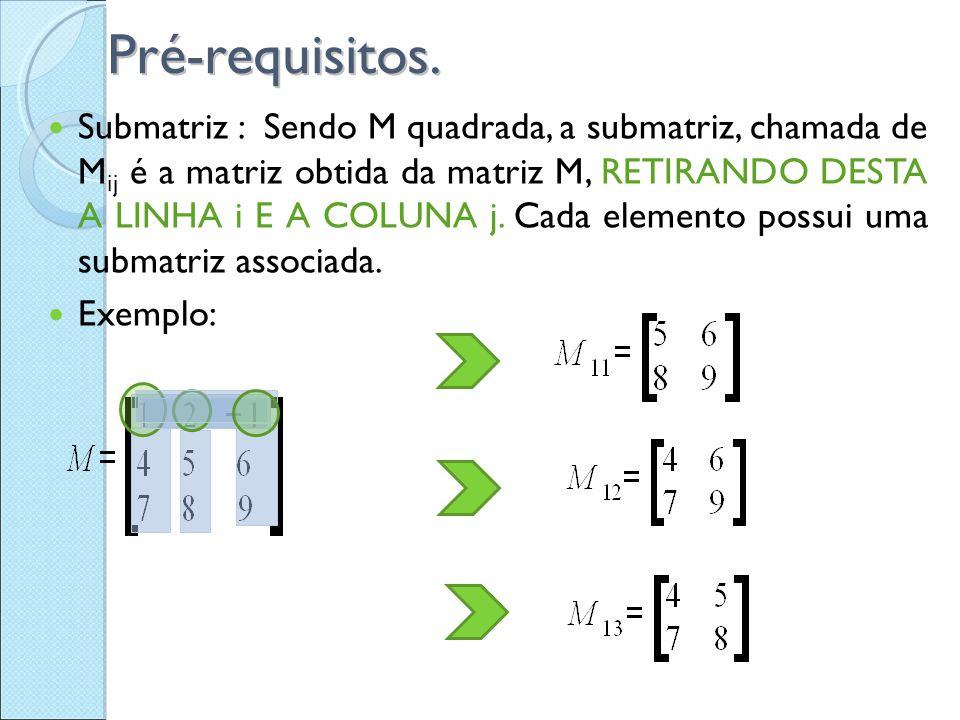 Pré-requisitos. Submatriz : Sendo M quadrada, a submatriz, chamada de M ij é a matriz obtida da matriz M, RETIRANDO DESTA A LINHA i E A COLUNA j. Cada