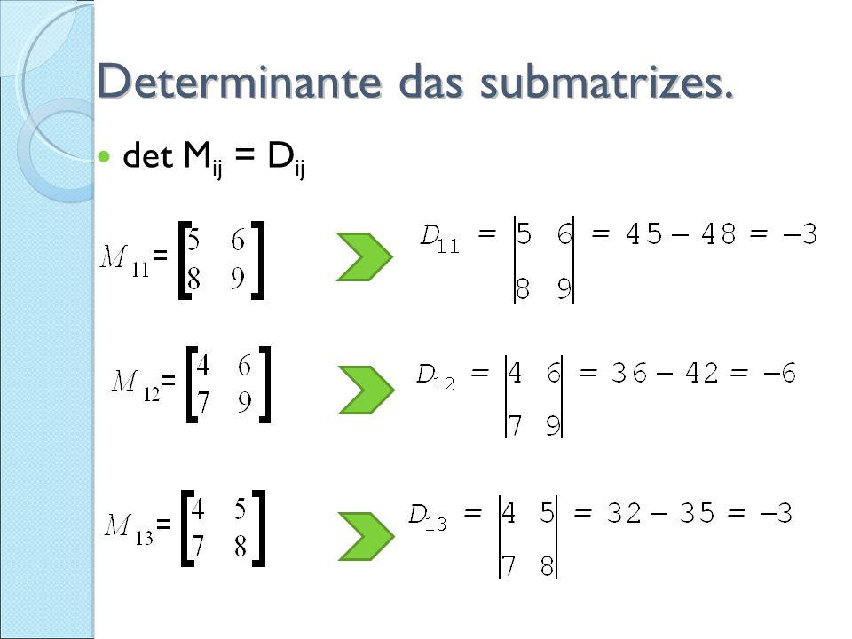 A cada elemento a ij podemos definir: A ij = (  1) i+j.D ij Exemplos: A 11 = (  1 ) 1+1 D 11 = (+1)(  3) =  3 A 12 = (  1 ) 1+2 D 12 = (  1 )(  6 ) = + 6 A 13 = (  1 ) 1+3 D 13 = (+1)(  3 ) =  3 Quando muda o sinal.