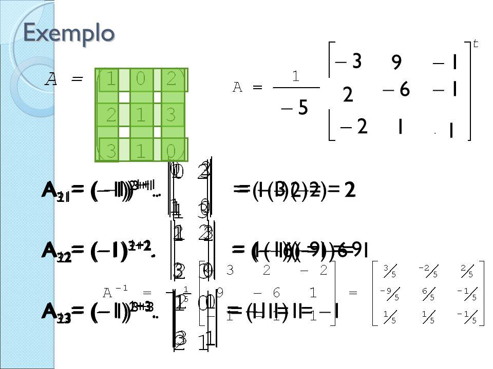A 11 = (  1) 1+1. =  3 A 12 = (  1) 1+2. = (  1)(  9) = 9 A 13 = (  1) 1+3. =  1 A 21 = (  1) 2+1. = (  1)(  2)= 2 A 22 = (  1) 2+2. = 1(